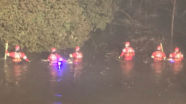 Rescue crews are searching for a child missing after a car was swept into a river near Orangeville. (Twitter: Brad Patton/ @CWFireChief)