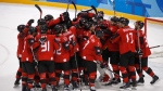 Canada players celebrate after the quarterfinal round of the men's hockey game against Finland at the 2018 Winter Olympics in Gangneung, South Korea, Wednesday, Feb. 21, 2018. Canada won 1-0. (AP Photo/Jae C. Hong)
