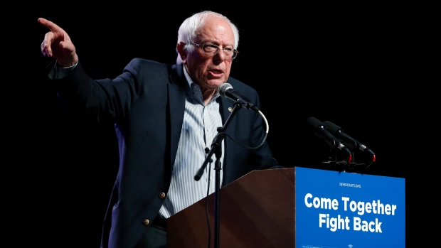 """In this April 20, 2017 file photo, U.S. Sen. Bernie Sanders speaks at a rally for Omaha Democratic mayoral candidate Heath Mello in Omaha, Neb. Sanders is working on a new book. """"Where We Go From Here"""" will be released Nov. 13 by Thomas Dunne Books. (AP / Charlie Neibergall, File)"""