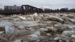 Chunks of ice are seen in the Grand River while flooding hits Brantford on Wednesday, Feb. 21, 2018. (Jason Gagnon / Twitter)