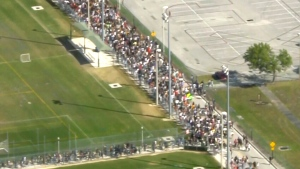 LIVE1: Aerials of gun control rallies in Florida