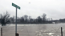The Nith River spills its banks in New Hamburg on Tuesday, Feb. 20, 2018.