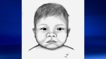 Calgary police released a composite sketch of the newborn girl, dubbed 'Baby Jane', during the investigation. (File)