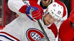 Carolina Hurricanes' Derek Ryan (7) battles with Montreal Canadiens' Jakub Jerabek (28) during the second period of an NHL hockey game, Wednesday, Dec. 27, 2017, in Raleigh, N.C. (AP Photo/Karl B DeBlaker)