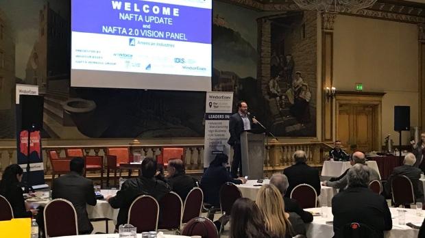 The NAFTA 2.0 Vision Panel gathered in Windsor on Wednesday, Feb. 21, 2018. (Rich Garton / CTV Windsor)