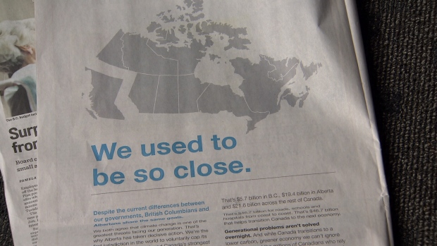 Alberta took out full-page ads in several BC newspapers today