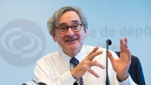 Michael Sabia, chief executive of the Caisse de Depot et Placements, Quebec's pension fund, speaks to the media Wednesday, February 21, 2018 in Montreal. The Caisee has reported net investment results of $24.6 billion in 2017, bringing its net assets to $298.5 billion. THE CANADIAN PRESS/Ryan Remiorz