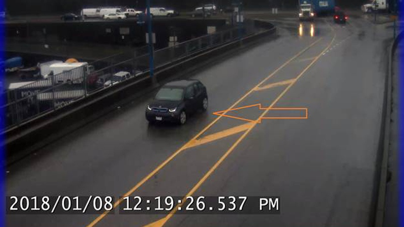 Su Yi Liang's BMW i3 is shown in a traffic camera photos provided by Vancouver police.