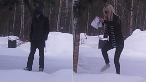 RCMP released photos showing two suspects in a residential break and enter in the area of RR 224 and TWP 513 on Tuesday, February 20, 2018. Supplied.