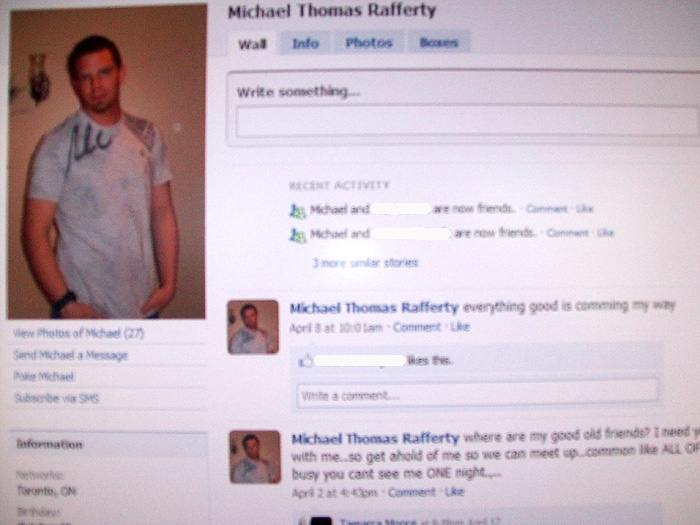 "A screengrab of the suspect's Facebook page. The latest posting dated April 8 at 10:01 a.m. reads, ""everything good is comming my way."""