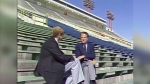 Darrel Janz and Billy Graham at McMahon Stadium in 1981