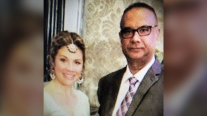 Jaspal Atwal stands next to Sophie Gregoire Trudeau at an event in India this week.