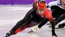 Kim Boutin, of Canada skates in the women's 1000-metre short-track speedskating quarter-finals at the 2018 Olympic Winter Games, in Gangneung, South Korea, Thursday, February 22, 2018. (THE CANADIAN PRESS/Paul Chiasson)