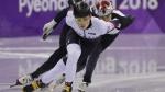 John-Henry Krueger of the United States skates in the men's 5000 metres short track speedskating relay B final on Feb. 22, 2018. (David J. Phillip / AP)