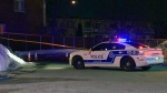 Montreal police investigate a stabbing on Belanger St. in St. Leonard on Feb. 21, 2018 (CTV Montreal/Cosmo Santamaria)