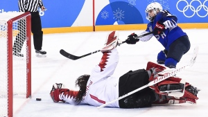 U.S. forward Jocelyne Lamoureux in the shoot out against Shannon Szabados during women's gold medal final at the 2018 Olympic Winter Games on Feb. 22, 2018. (Nathan Denette / THE CANADIAN PRESS)