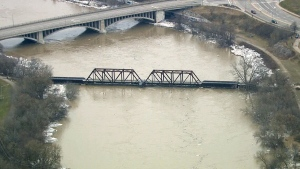 Aerial view of flooding in Brantford