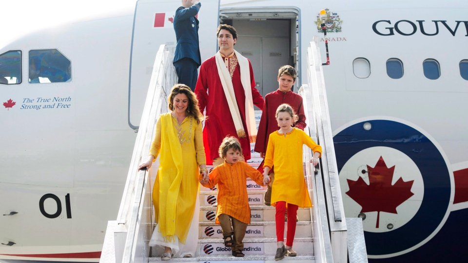 Prime Minister Justin Trudeau and wife Sophie Gregoire Trudeau, and children, Xavier, 10, Ella-Grace, 9, and Hadrien, 3, arrive in Ahmedabad, India on Monday, Feb. 19, 2018. THE CANADIAN PRESS/Sean Kilpatrick