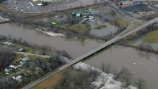 Aerial view of Grand River in Brantford