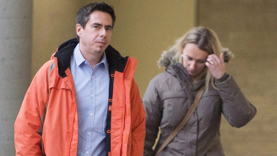 Magdalena Biron and Bernard Biron, whose daughter Vanessa was severely mauled by a pit bull-type dog, leave the courtroom in Longueuil, Que., on February 20, 2018. (THE CANADIAN PRESS/Ryan Remiorz)
