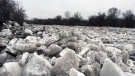 An ice jam covers the Grand River in the Tutela Heights area of Brantford on Thursday, Feb. 22, 2018. (Dan Lauckner / CTV Kitchener)