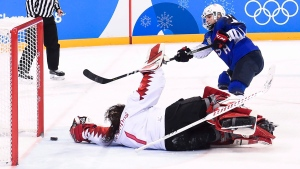 United States forward Jocelyne Lamoureux (17) scores the game winning shoot out goal to win the gold medal during women's gold medal final Olympic hockey action at the 2018 Olympic Winter Games in Gangneung, South Korea on Thursday, February 22, 2018. THE CANADIAN PRESS/Nathan Denette