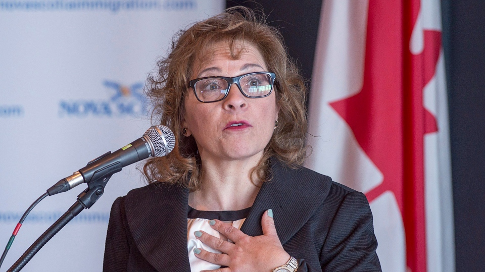 Nova Scotia Immigration Minister Lena Diab announces an immigration stream to help attract more international doctors and specialists to the province, in Halifax on Thursday, Feb. 22, 2018. (THE CANADIAN PRESS/Andrew Vaughan)