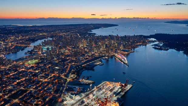 The Vancouver skyline is seen from Chopper 9 in this photo by CTV's Pete Cline.