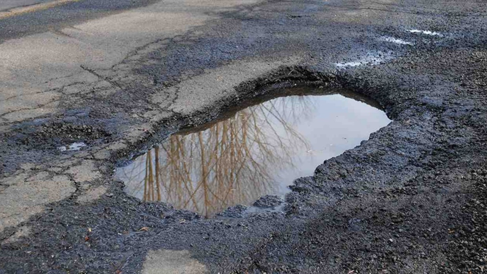 This pothole on Heron Rd. has been dubbed the 'Tire Eater'. (CTV viewer submitted photo)