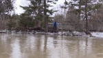 Flood water can be seen in Loretto, Ont. on Thursday, Feb. 22, 2018. (Mike Arsalides/ CTV Barrie)