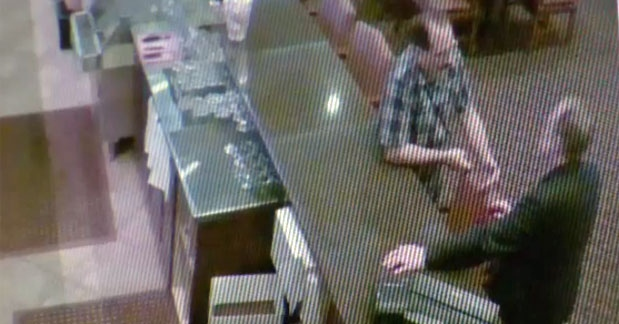 Surveillance camera still of Joseph Stroup and Scott Winograd inside Bears Den Restaurant in November 2017 (courtesy: Scott Winograd)