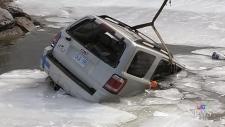SUV goes through ice on Lake Simcoe