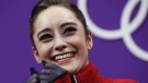 Kaetlyn Osmond reacts as her scores are posted following her performance in the women's short program figure skating in the Gangneung Ice Arena at the 2018 Winter Olympics in Gangneung, South Korea on Wednesday, Feb. 21, 2018. (AP Photo/Bernat Armangue)