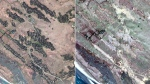 The village of Zone Kar Yar, about 24 kilometres southeast of Maungdaw, Rakhine state, Myanmar is seen in this combination of two satellite images provided by DigitalGlobe, Dec. 20, 2017, left; and Feb. 13, 2018. (DigitalGlobe via AP)