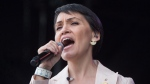 Inuk singer Susan Aglukark performs after the Walk for Reconciliation in Vancouver, B.C., on Sunday September 24, 2017. THE CANADIAN PRESS/Darryl Dyck