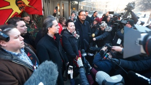 From left, Grand Chief Jerry Daniels, Southern Chiefs' Organization, Chief Arlen Dumas, Chief Sheila North, and Chief Kevin Hart speak to media outside the law courts in Winnipeg after the jury delivered a not-guilty verdict in the second degree murder trial of Raymond Cormier, Thursday, February 22, 2018. THE CANADIAN PRESS/John Woods
