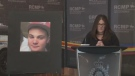 Amanda Frigault read a statement at RCMP headquarters in Fredericton on Feb. 23, 2018, asking anyone with information about her son to contact police or Crime Stoppers.