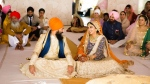 Federal NDP Leader Jagmeet Singh is shown with his now-wife, Gurkiran Kaur, at their wedding ceremony in this image posted on Twitter.