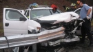 Firefighters and rescue personnel attend the scene of a car accident in Bristol, Tenn., on Dec. 17, 2008. Authorities across Canada are awaiting test results from the U.S. before deciding what to do about thousands of safety devices with alleged defects that they say could cause guardrails to rip through cars and motorists instead of protecting them in crashes. (Handout / Joshua Harmon / Failingheads.com)