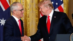 President Donald Trump and Australian Prime Minister Malcolm Turnbull shake hands during a news conference at the White House in Washington, Friday, Feb. 23, 2018. (AP Photo/Pablo Martinez Monsivais)