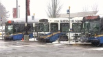 Buses are seen in Burnaby, B.C. on Friday, Feb. 23, 2018.