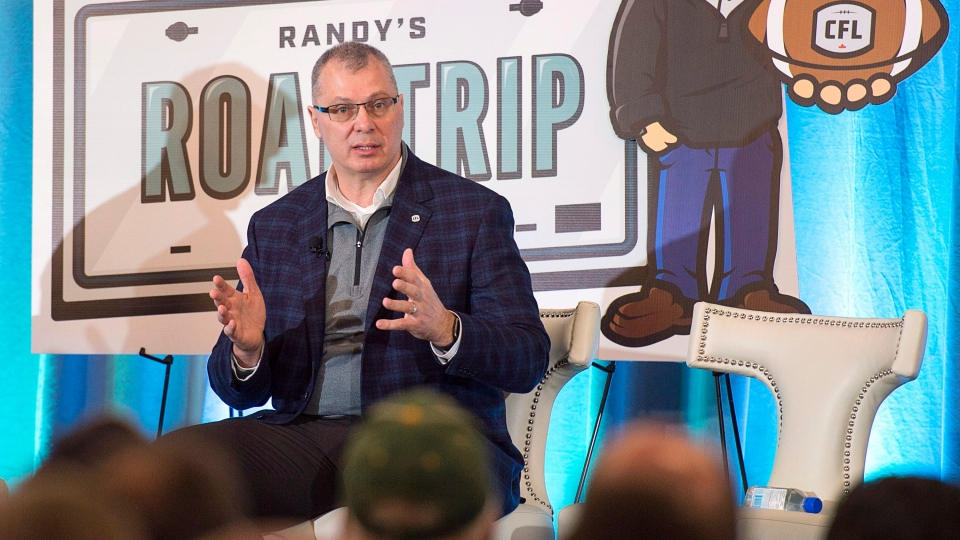 Randy Ambrosie, the Canadian Football League's commissioner, addresses the crowd at a public town hall meeting in Halifax on Friday, Feb. 23, 2018. The league has been in talks with a group of prospective owners interested in a Halifax franchise. (THE CANADIAN PRESS/Andrew Vaughan)