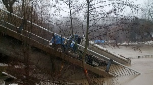 No one was injured after a bridge collapsed at Imperial Road in Port Bruce, Ont. on Feb. 23, 2018. (Twitter/OPP West/@OPP_WR)
