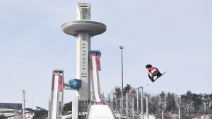 Sebastien Toutant of Canada takes a training jump prior to the men's snowboard big air final at the 2018 Winter Olympic Games in Pyeongchang, South Korea, Saturday, Feb. 24, 2018. (THE CANADIAN PRESS / Jonathan Hayward)