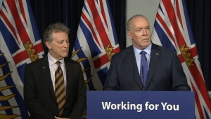 B.C. Premier John Horgan speaks in Victoria on Thursday, Feb. 22, 2018.