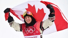 Gold medallist Sebastien Toutant of Canada celebrates following the men's snowboard big air final at the 2018 Winter Olympic Games in Pyeongchang, South Korea, Saturday, Feb. 24, 2018. THE CANADIAN PRESS/Jonathan Hayward