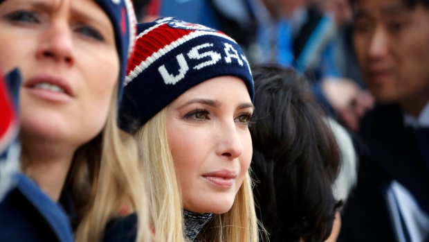 Ivanka Trump, daughter of U.S. President Donald Trump, watches the men's Big Air snowboard competition at the 2018 Winter Olympics in Pyeongchang, South Korea, Saturday, Feb. 24, 2018. (Eric Gaillard / Reuters via AP)