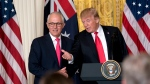 U.S. President Donald Trump and Australian Prime Minister Malcolm Turnbull finish a joint news conference in the East Room of the White House in Washington, Friday, Feb. 23, 2018. (AP Photo/Andrew Harnik)