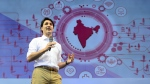 Prime Minister Justin Trudeau takes part in the Young Changemakers Conclave 2018 in New Delhi, India on Saturday, Feb. 24, 2018. (THE CANADIAN PRESS/Sean Kilpatrick)