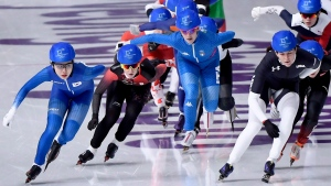 Canada's Ivanie Blondin, second from left, skates during the women's speed skating mass start semifinal at the 2018 Olympic Winter Games, in Pyeongchang, South Korea, on Saturday, February 24, 2018. (THE CANADIAN PRESS/Paul Chiasson)